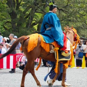 A horse and a jockey at Aoi Matsuri Festival | Japanesquest